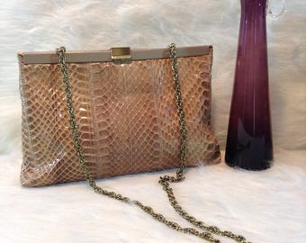 Vintage Tan Snakeskin Clutch or Crossbody Bag