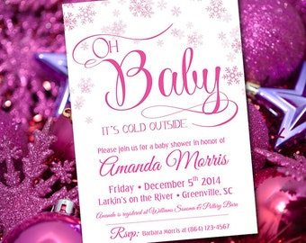 "Baby Shower Invitation Template INSTANT DONLOAD Printable Invitation ""Oh Baby"" Pink Snowflake Invitation, Winter Wonderland Baby Girl Shower"