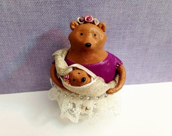 Mama & Baby Bear Wall Art Figurine - One of a Kind Wall Sculpture