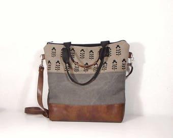 Waxed gray canvas bag, canvas beige crossbody bag, vegan leather gray bag, zipper tote bag, brown leather hobo bag, Toffee bag, day bag