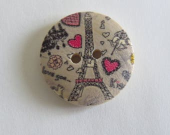 Eiffel Tower pink and gray patterned wooden button