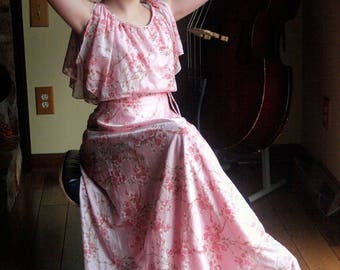 Pink Floral 70's Maxi Dress Vintage Cherry Blossom Gown Boho Fashion