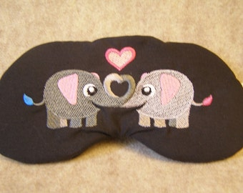 Embroidered Eye Mask for Sleeping, Sleep Mask for Kids, Adults, Sleep Blindfold, Eye Shade, Love Slumber Mask, Elephant Design, Handmade