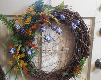 """Woodsy Witch Wreath with Blue Hops - 16"""""""