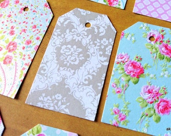Handmade labels, set of 16, shabby,flowers 3.2m x 5.5mm paper 200g / m2