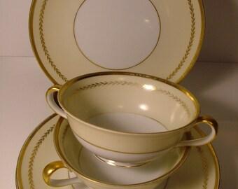 "Vintage NORITAKE  Cream Soup Bowls & Under Plates - ""GENOVA"""