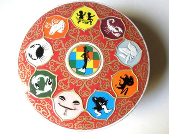 70s Zodiac Tin // Red // Colorful Images // Astrological // Wheel of Fortune