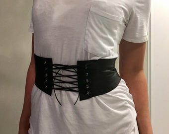 Corset Belt Black Leather