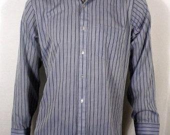 vtg 60s minty MacPhergus SHINY blue Striped Button Down Shirt Pointed Collar M