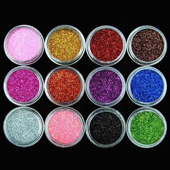 12 Glitter Powder for Nails Body Face Tinsel Polish Slime Set
