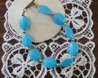Turquoise Colored Bead Bracelet, Gold Accent Bead Bracelet, Turquoise and Gold Bracelet, Toggle Bracelet, Affordable Bracelet, MarjorieMae