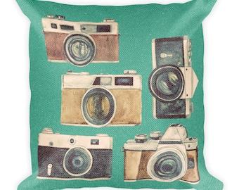 Retro Cameras Square Pillow