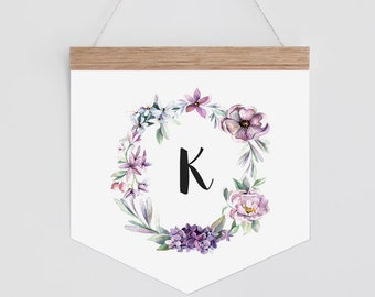 Personalised Banner - floral watercolour wreath with letter. Wall hanging.