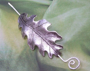 Leaf Shawl Pin, Oak Leaf Scarf Pin, oak leaf shawl pin, silver shawl pin, hair slide, oxidized, fall fashion, silver filled
