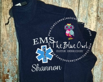 Star of Life Paramedic/EMT/EMS Custom Monogrammed Full Zip Fleece Jacket