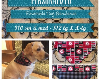 Reversible Dog Bandana / over the collar dog bandana / personalized dog bandana / flannel dog bandana / dog scarf / dog lover