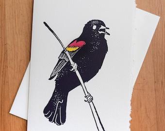 Red-winged Blackbird Greeting Card - Individually Hand Printed