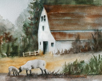 Fall decor watercolor painting lamb Print of lamb art PRINT lamb painting of lamb barn white watercolour painting autumn sheep western 11x14
