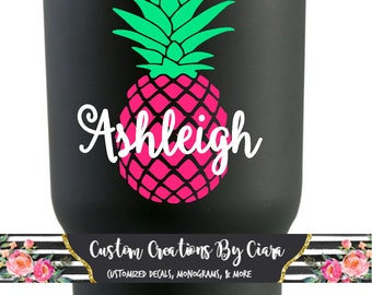 Pineapple Name Decal | Pineapple Decal | Pineapple Monogram | Pineapple Car Decal | Cup Decal | Tropical | Beach Decal | Pine Apple