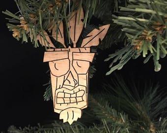 Custom Engraved Hardwood Ooga Booga Mask Christmas Ornament