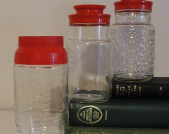 Set of 3 Vintage Anchor Hocking Glass Jars, Red Screw Lid Top, Maxwell House Bicentennial Eagle,Commemorative Canister set,Kitchen canisters