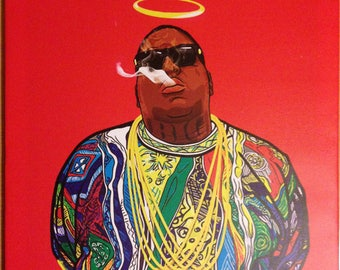 The Notorious B.I.G - original canvas on pine frame, artwork, artprint *watermark Lil'Print will be removed