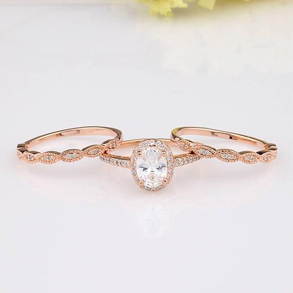 Rose Gold Oval Cz Halo Three Rings Bridal Set Art Deco