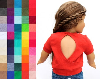 Fits like American Girl Doll Clothes - Keyhole Back Top, You Choose Color and Sleeve Length | 18 Inch Doll Clothes