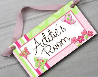 Pretty Butterfly Girls Bedroom and Baby Nursery Kids Bedroom DOOR SIGN Wall Art DS0021