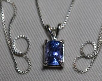 Tanzanite Necklace, Certified Tanzanite Pendant 1.78 Carats  Cut, Sterling Silver, Real Genuine Natural Blue Tanzanite Jewelry