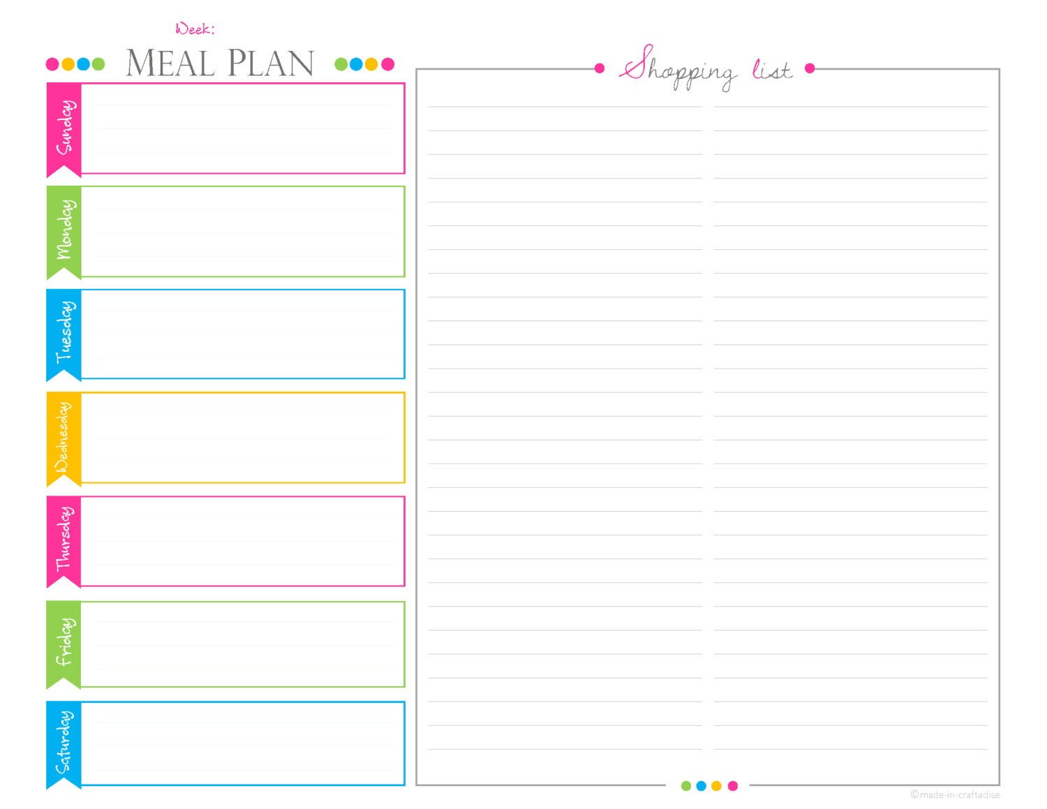 meal planning template with grocery list - weekly meal planningshopping list pdf planner landscape