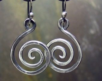 Spiral Earrings Sterling Silver Dangles - Antique Silver Swirls