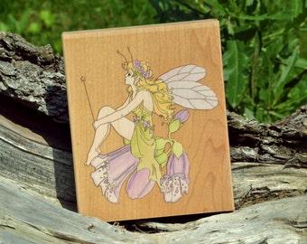 80087 FAIRY ON FOXGLOVE, Stamps Happen. Inc.
