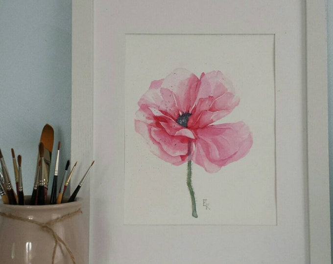 Featured listing image: Watercolor poppy. Original watercolor poppy flower size 8 x 10 inc. Red flower. Poppy painting. gift. flower picture. Home decor. Botanical