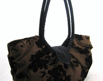 Large brown with black floral purse, pleated hobo bag, stylish and classic purse - Java black floral
