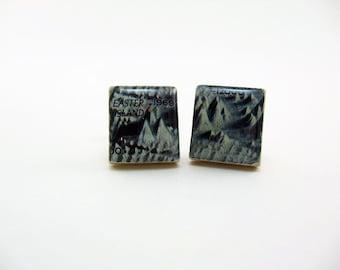 Wedding Mens Cufflinks Grooms Corner - Vintage Pacific Ocean Floor Map 1969 vintage Scrabble tiles - blue white
