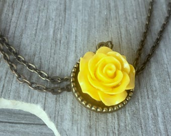 Yellow rose necklace etsy yellow rose necklace flower pendant yellow rose rose pendant necklacestatement necklacevintage mozeypictures Gallery