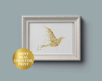 Bird Real Gold Foil - Bird Art Print - Gold Bird Print - Gold Foil Prints - White and Gold Art - Gold Room Decor - Flying Bird Poster