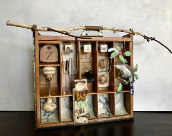 Assemblage Art, Original Art, Vintage Finds, Joseph Cornell, Nature In Art