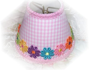 NEW Lt Pink & White Checks With or Without Colorful Applique Daisy's Gingham MINI Clip On Shade