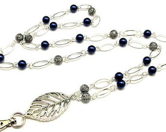 Lanyard Necklace, ID Badge Holder, Silver Lanyard, Breakaway Lanyard, Beaded Lanyard, Pearl Lanyard & Filigree Beads, Name Badge Necklace,