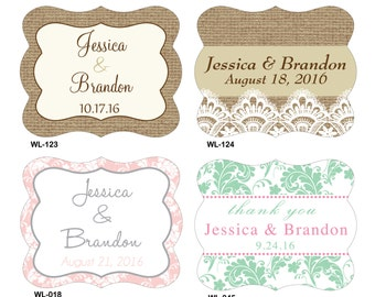 48 - 3x4 inch Die Cut Custom Wedding Wine Bottle Waterproof Labels - hundreds designs to choose - change designs to any color or wording