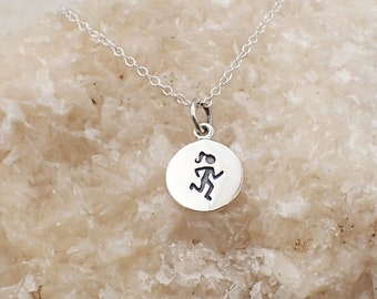 Runner Necklace Sterling Silver Marathon Charm Pendant Cable Chain Female Athlete Running Sport