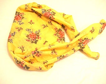 Yellow and pink floral square scarf