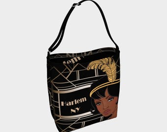 Harlem Renaissance New York Flapper Ladies Stretch Adjustable Shoulder Strap Tote Bag Weekender Garden Market Art Deco Style