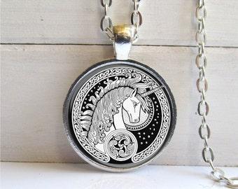 Unicorn Necklace, Art Pendant, Celtic Unicorn, Black And White, Unicorn Pendant
