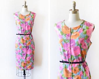 vintage 60s floral dress, 1960s house dress, bright pink + orange + blue flower print dress, zip up dress, large l