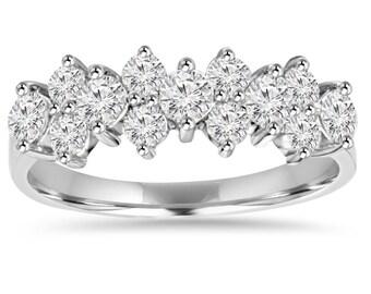 Diamond Wedding Ring, 1.30CT Diamond Anniversary Ring 14K White Gold