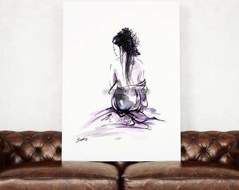 Geisha, Japanese girl, Japanese Beauty, Japan Temptation, Watercolor painting, Zen artwork, Ink painting, Oriental girl, Maiko, Surreal