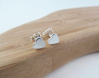 Heart Silver Stud Earrings Valentines Gift for Her Little Girls Jewelry Sterling Silver Heart Studs Small Heart Earrings Minimalist Earrings